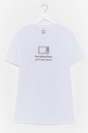 White Stop Makin' Drama Graphic Tee