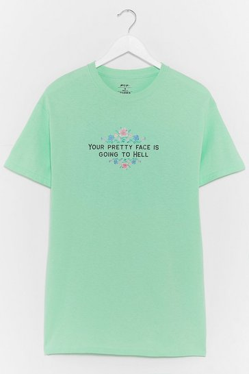 Mint Your Pretty Face Floral Graphic Tee
