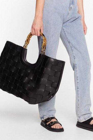 Black WANT Bamboo Your Best Woven Tote Bag