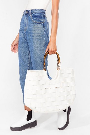 White WANT Bamboo Your Best Woven Tote Bag