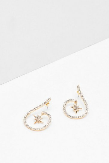 Gold Star-t Afresh Diamante Drop Earrings