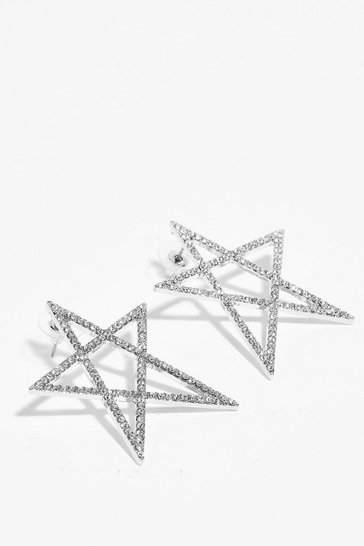 Silver Off to a Flying Star-t Diamante Earrings