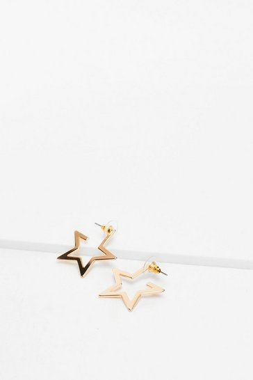 Gold Let's Star-t Over Hoop Earrings