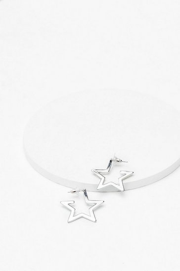 Silver Let's Star-t Over Hoop Earrings