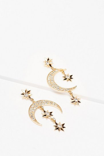 Gold Shoot for the Moon Star Drop Earrings