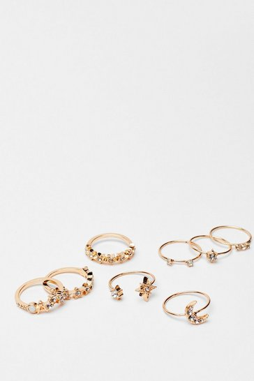 Gold Tonight's the Night Diamante 8-Pc Ring Set