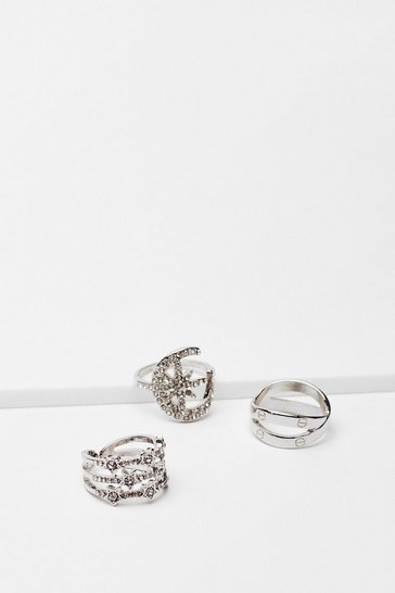 Silver Up All Night Diamante Star 3-Pc Ring Set