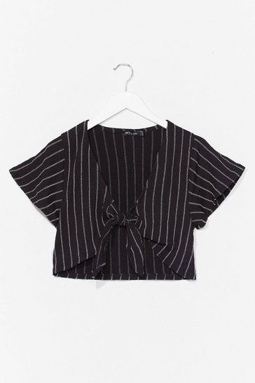 Black Stripe Front Crop Top