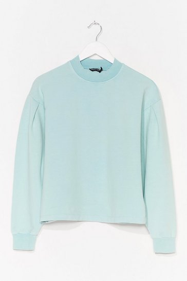 Mint Baggy High Neck Jumper