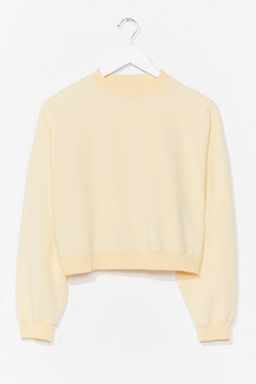 Lemon Crew Neck Cropped Sweatshirt