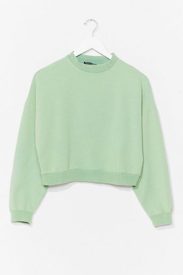 Mint Can't Crop Me Now Crew Neck Sweatshirt
