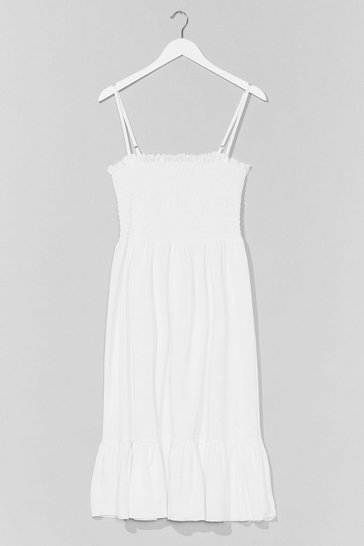 White Shirred 'Em Say Plus Midi Dress