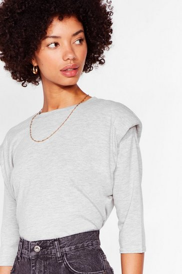 Grey You Gave Love a Pad Name Relaxed Top