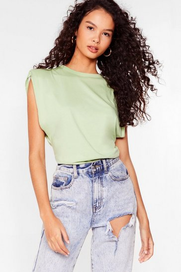 Apple green Chip On Your Shoulder Pad Tank Top