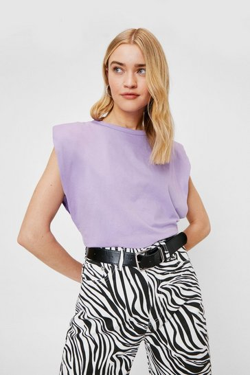 Lilac Chip On Your Shoulder Pad Tank Top