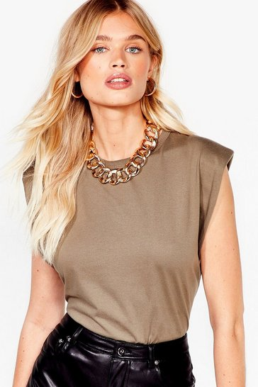 Khaki Shoulder Pad to the Bone Jersey Tank Top