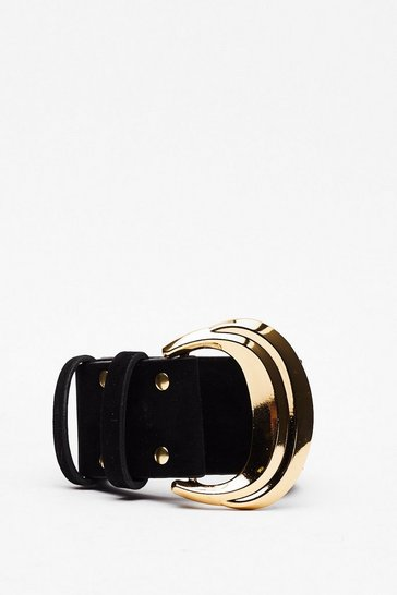Black Don't Buck-le It Up Faux Suede Belt