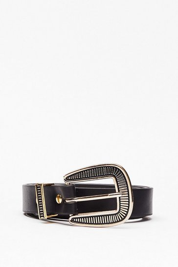 Black Oversized Engraved Buckle Belt