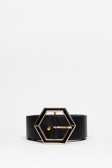 Black Hexagon With the Wind Faux Leather Belt