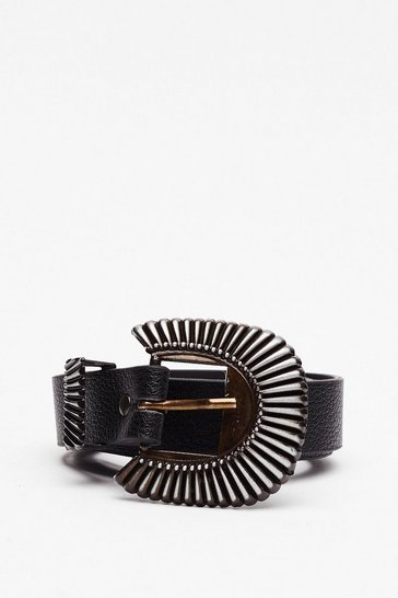 Black Close to You Faux Leather Belt