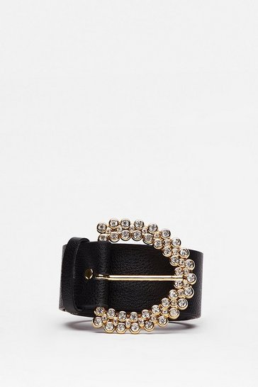 Black The Shine is Now Faux Leather Diamante Belt