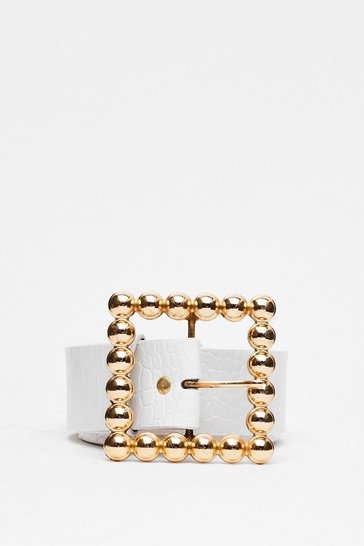 White Square She is Faux Leather Oversized Belt