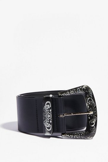 Black Watchin' Old Westerns Chunky Buckle Belt