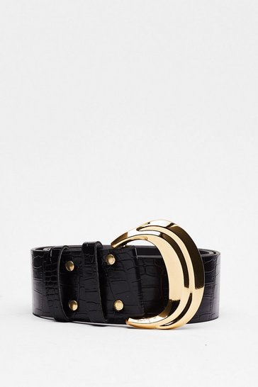 Black Don't Buck-le It Up Faux Leather Croc Belt