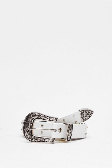 White Western Studded Buckle Belt