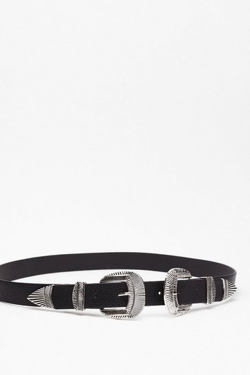 Black Double or Nothin' Faux Leather Western Belt