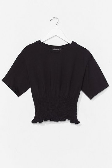 Black Shirred All About It Cropped Tee