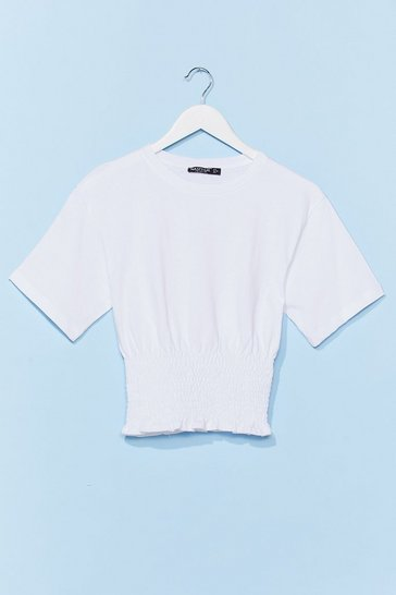 White Shirred All About It Cropped Tee