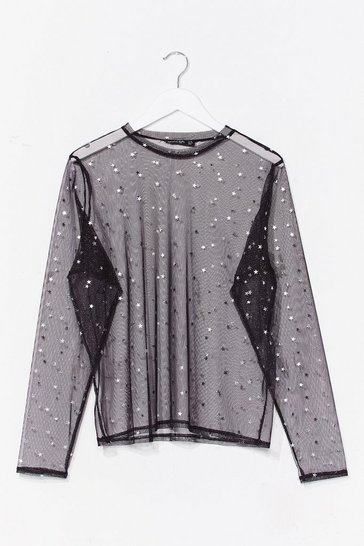 Black Star Cry Mesh Top