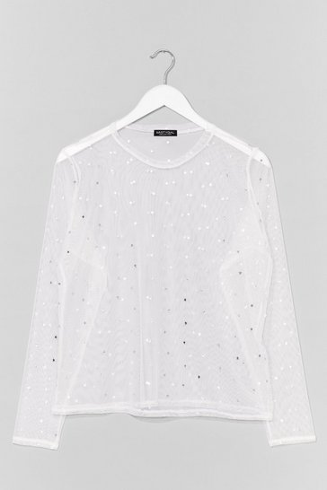 White Star Detail Long Sleeve Mesh Top