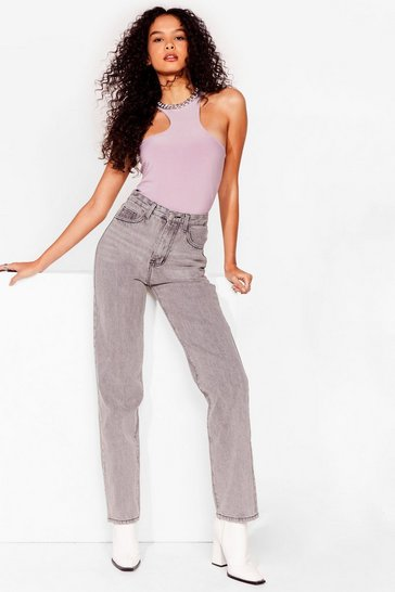 Light grey Like Straight Away High-Waisted Jeans