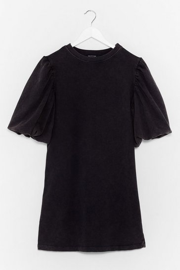 Black When the Going Gets Puff Sleeve Sweat Dress