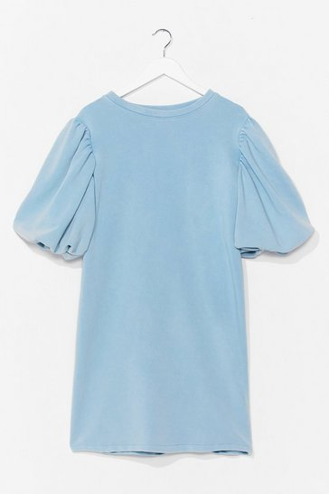 Pale blue When the Going Gets Puff Sleeve Sweat Dress