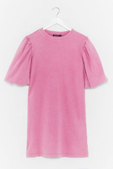 Pink When the Going Gets Puff Sleeve Sweat Dress