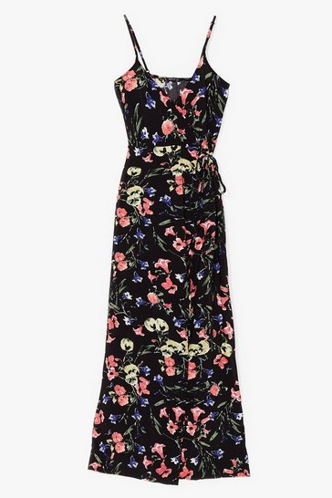 Black Thanks a Bunch Floral Wrap Maxi Dress