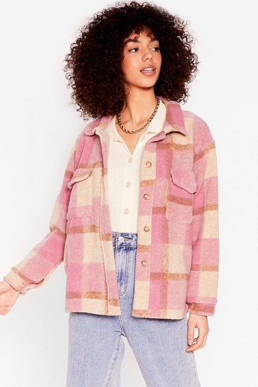 Pink Checkin' You Out Faux Wool Oversized Jacket