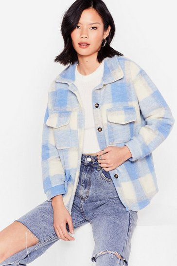 Sky We're Making Progress Faux Wool Oversized Jacket
