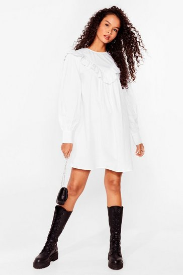 White Our Day Frill Come Broderie Anglaise Mini Dress