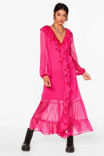Hot pink What Frill It Take Ruffle Maxi Dress