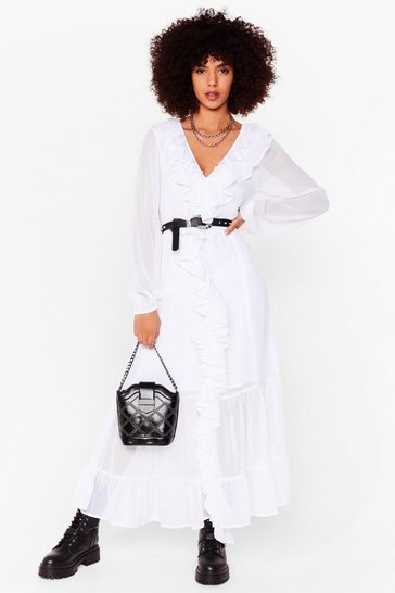 White Chiffon Long Sleeve Ruffle Maxi Dress