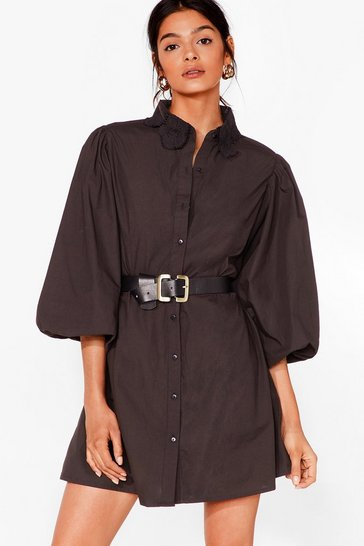 Black Lace Your Steps Puff Sleeve Shirt Dress