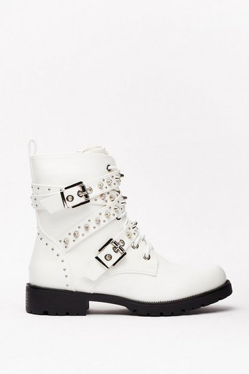 White Embellish in the Fact Faux Leather Biker Boots