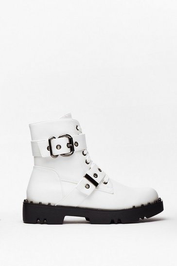 White PU Double Buckle Biker Boots