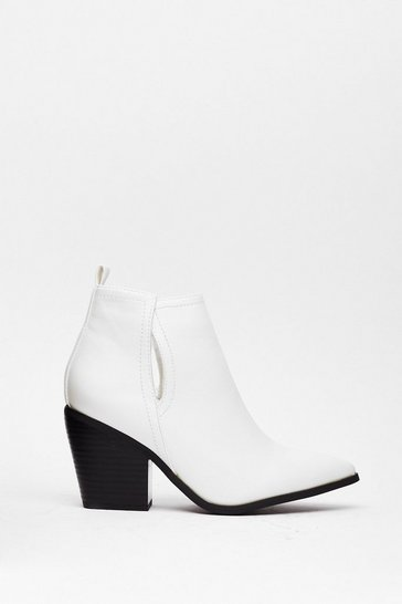 White Say How You Heel Slingback Boots
