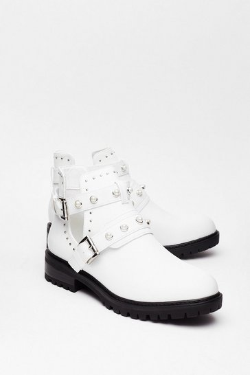 White Let Me Treasure You Pearl Ankle Boots