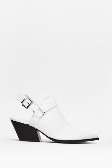 White Point of No Return Croc Heeled Boots